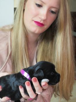 Denise met haar eigen puppy